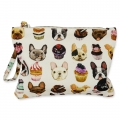 Small pouch Bulldogs and cupcakes