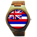 Handmade Wooden Watch Made with Natural Bamboo Wood with State of Hawaii Flag