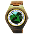 Handmade Wooden Watch Made with Natural Bamboo Wood with State of Indiana Seal