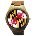 Wooden Watch Made with Natural Bamboo Wood with State of Maryland Flag