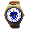 Handmade Wooden Watch Made with Natural Bamboo Wood with State of Massachusetts Seal
