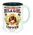 Hula Girl Mug with Coffee Logo Two Tone Green 11oz