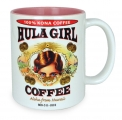 Hula Girl Mug with Coffee Logo Two Tone Pink 11oz