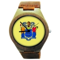 Wooden Watch Made with Natural Bamboo with State of New Jersey Flag
