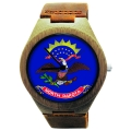 Handmade Watch Made with Natural Bamboo Wood with State of North Dakota Flag