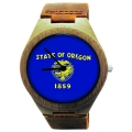 Wooden Watch Made with Natural Bamboo with State of Oregon Flag