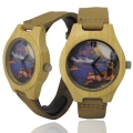 Handmade Kahala Wooden Watch Made With Natural Bamboo Wood with Hawaiian Artwork - HGW209