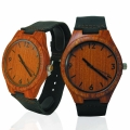 Handmade Wooden Lady Watch Made with Natural Red Sandalwood with Brown Cowhide Leather Strap Kahala Brand - HGW-23RS39