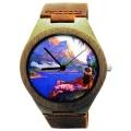 Kahala Wooden Watch Made With Natural Bamboo Wood with Hawaiian Artwork