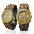 Handmade Wooden Watch Made with Hawaiian Koa Wood and Hawaiian Mango Wood - Kahala Brand # 11-A