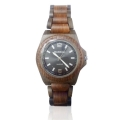 Handmade Wooden Watch Made with Red and Black Sandalwood Sunray Black Face