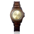 Handmade Wood Watch Made with Red and Black Sandalwood Sunray Gold Face