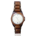 Handmade Wooden Watch Made with Black and Red Sandalwood Matte White face - Kahala2RBSW