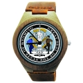 Handmade Wood Watch Made with Natural Bamboo Wood with State of Wyoming Seal